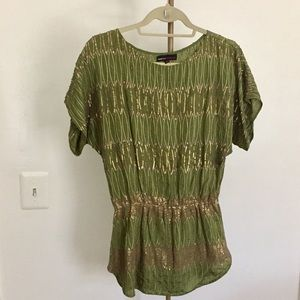 Anthropologie Green Sequined Tunic